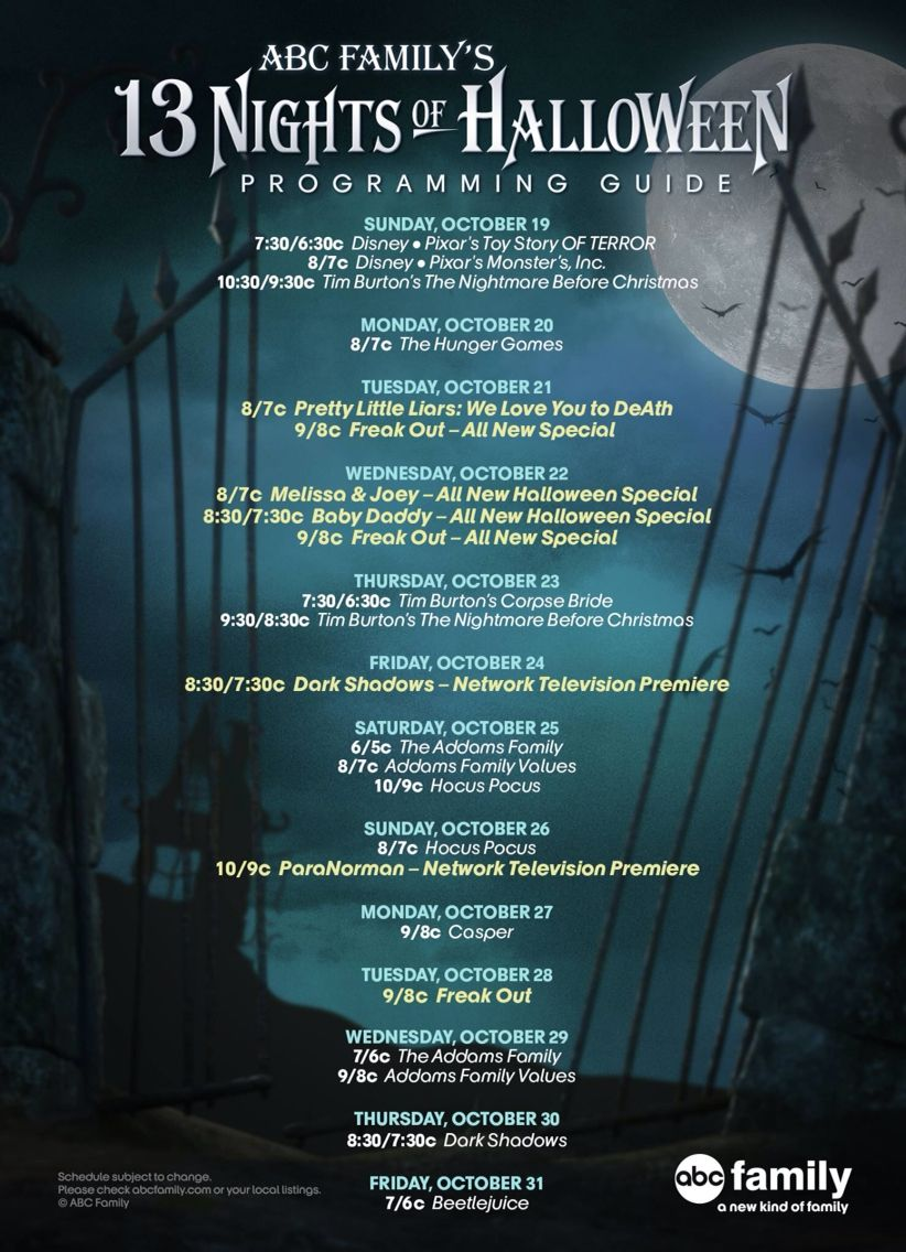ABC Family's 13 Nights of Halloween Programming Guide 2014 | Tv ...
