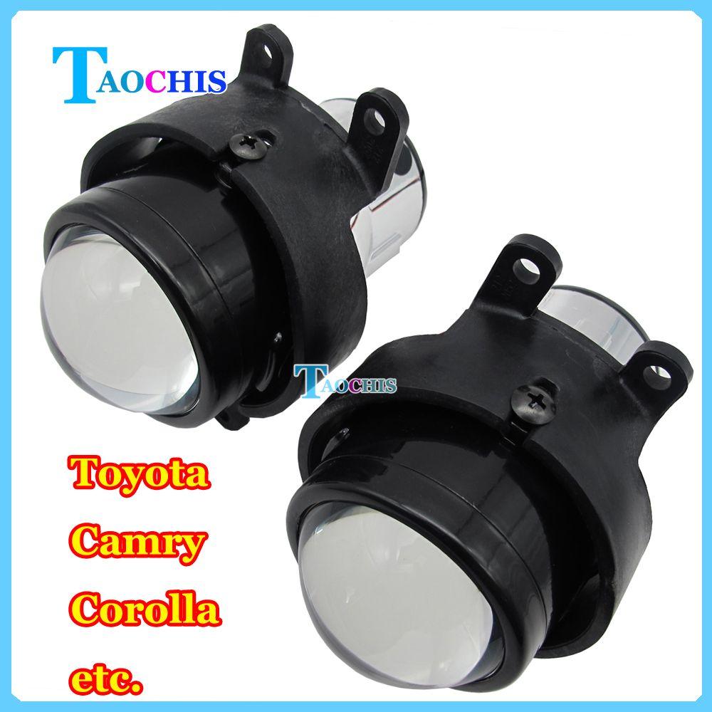 Taochis m6 자동차 2.5 인치 이중 크세논 프로젝터 렌즈 키트 H11 전구 크리스탈 클리어 foglights 전용 도요타 화관 안개 램프
