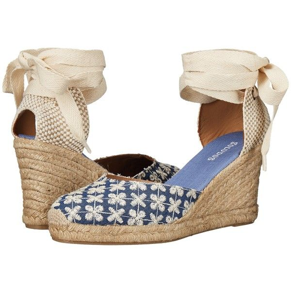 8aaffc5b730 Soludos Pattern Tall Wedge (Denim) Women s Wedge Shoes ( 66) ❤ liked on  Polyvore featuring shoes