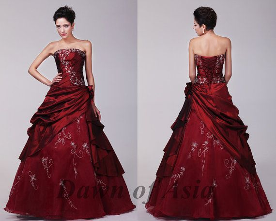 Red wedding dress plus size ball gown / red bridal by DawnofAsia ...