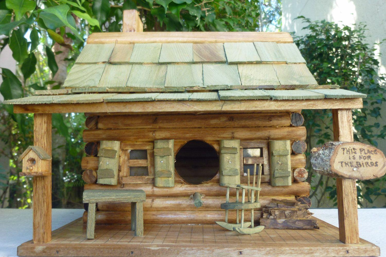 Log Cabin Birdhouse Rustic Cabin Birdhouse Log Cabin