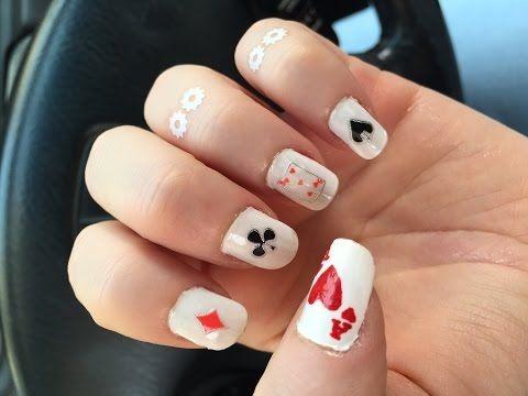 Diy Playing Cards Nail Art Nooj رسم على الأظافر أوراق اللعب Youtube Make It Yourself Nails Make Your Own