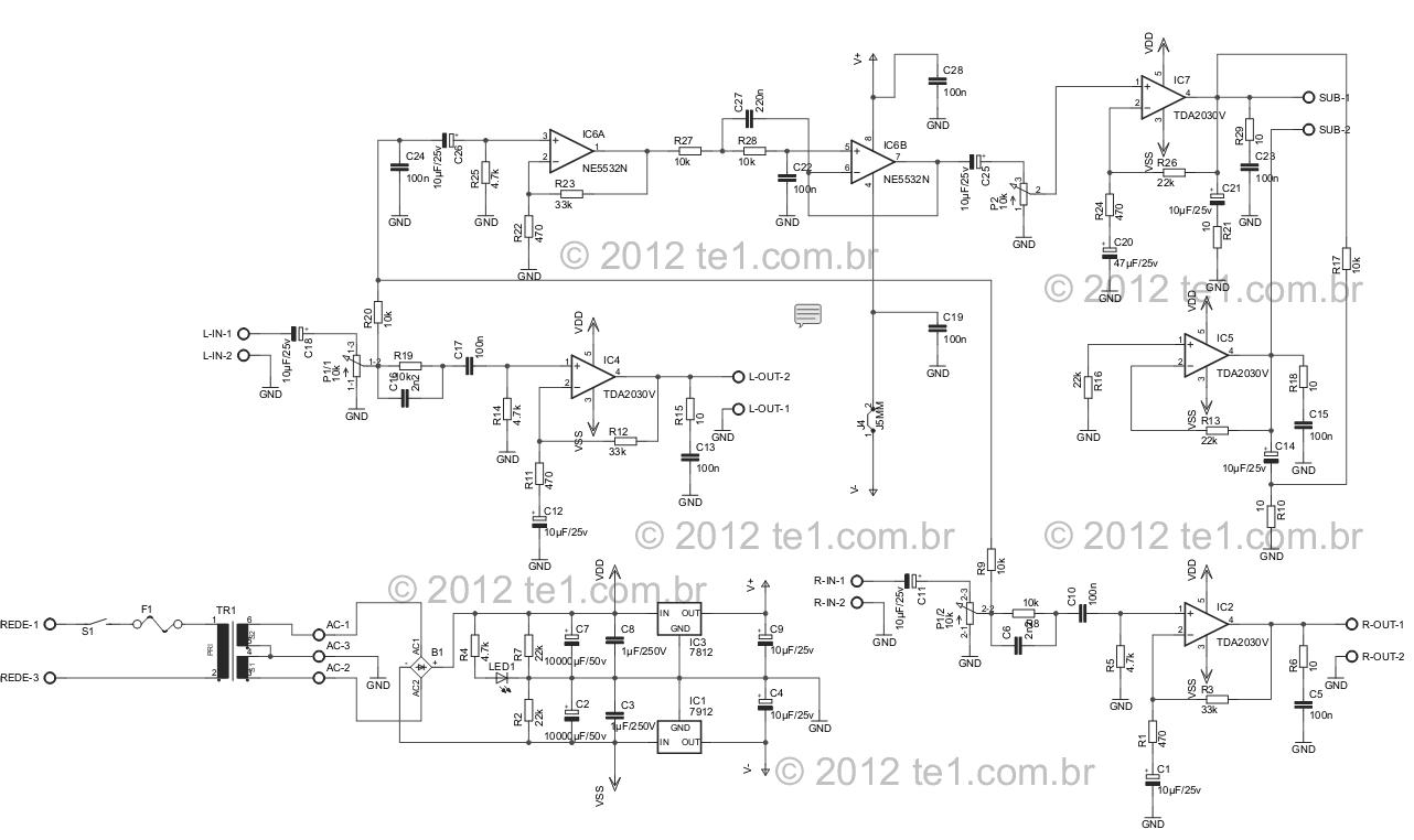 Tda2030 2 1 Subwoofer Circuit Diagram Data Wiring Diagrams Esquema Ne5532 Amplificador 450x267 Rh Pinterest Com Home Theater Filter