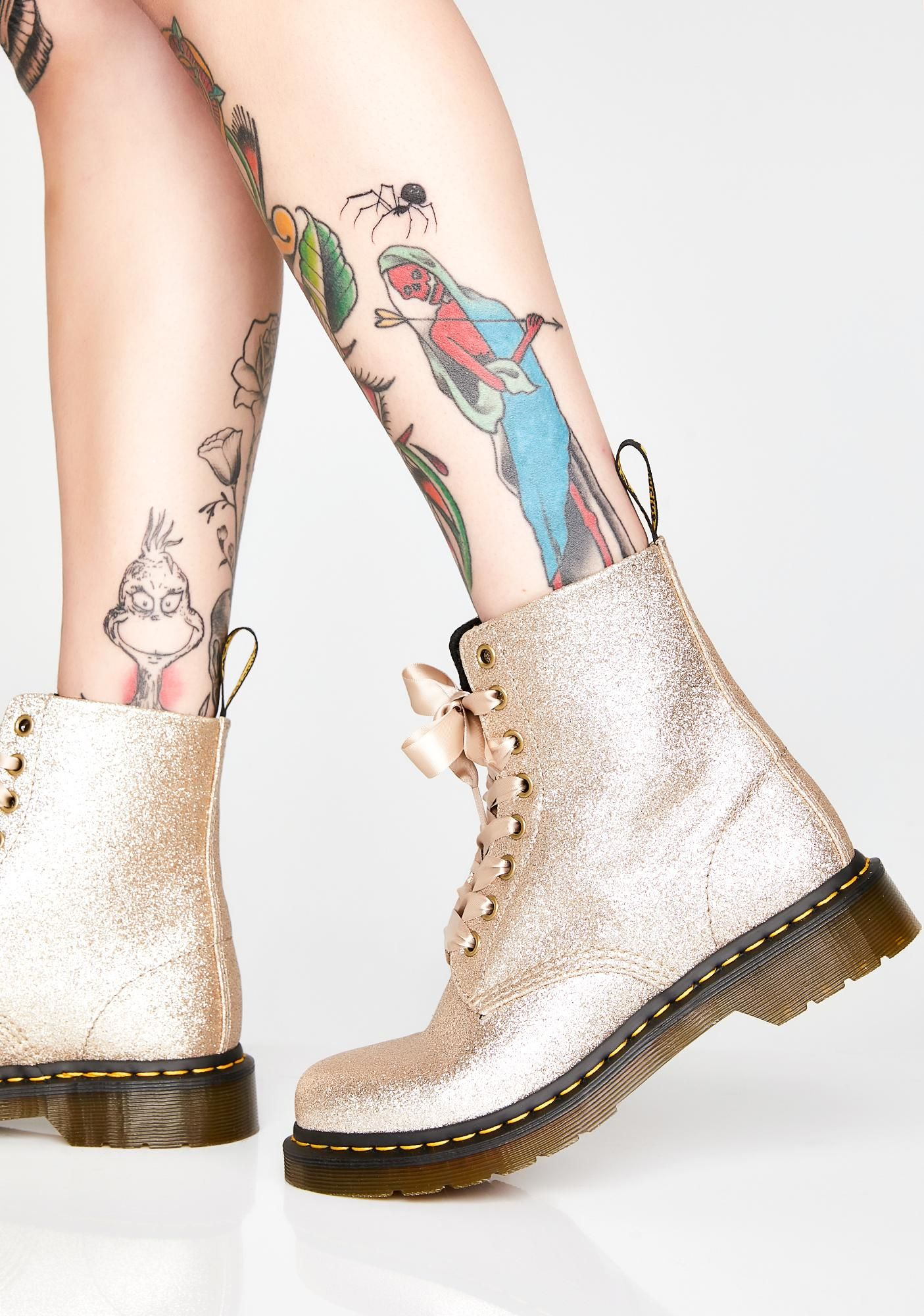 1460 Pascal Pale Gold Glitter Boots