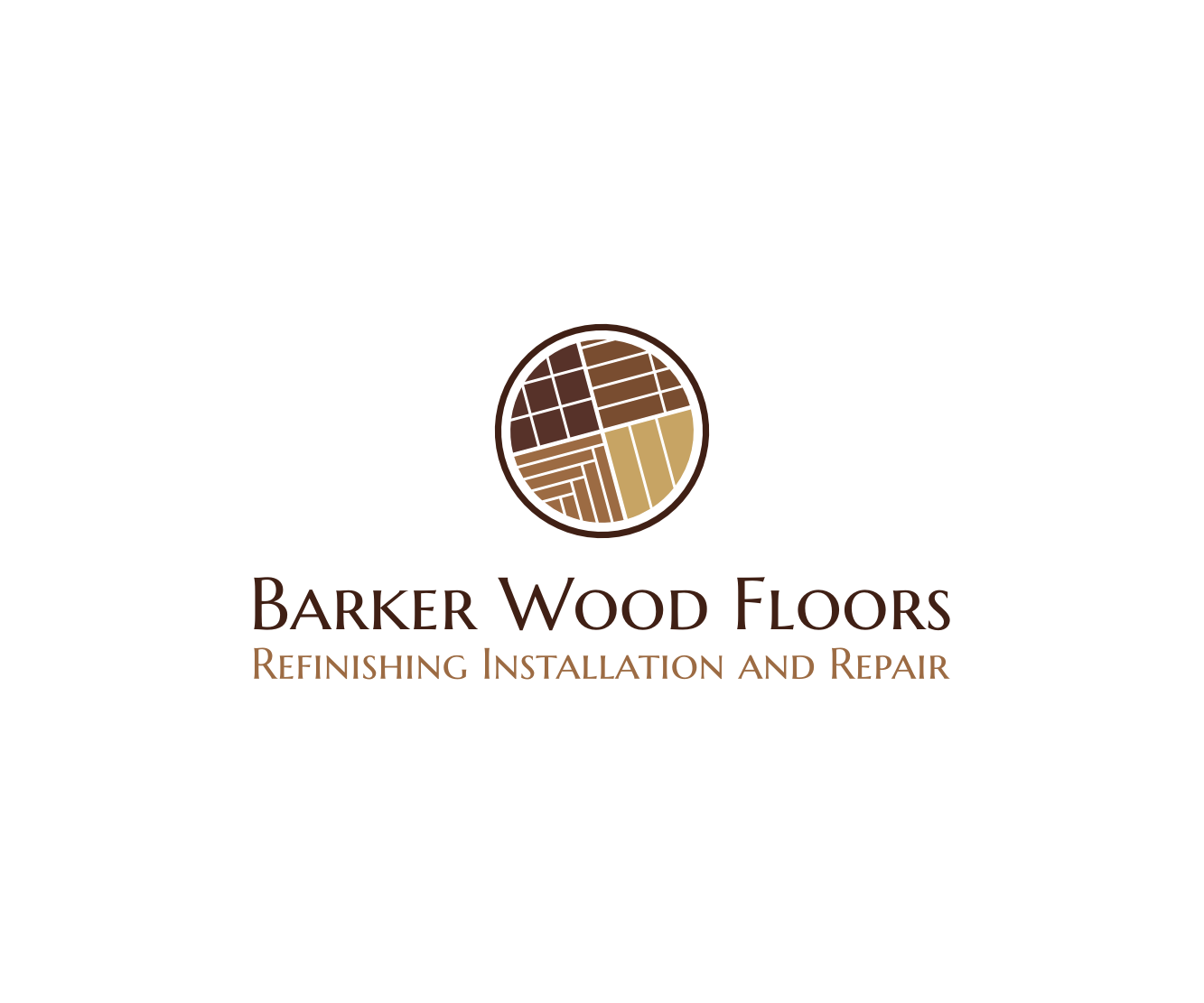 Masculine Bold Woodworking Logo Design For Barker Wood Floors Refinishing Installation And