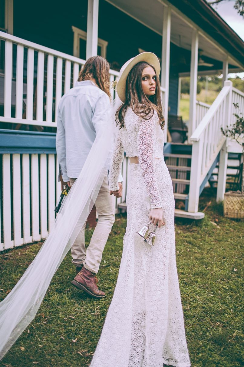 Young hippie boho laid back lace country wedding dress ideas mus
