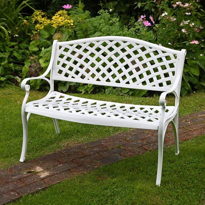 Weisse Aluminium Metall Gartenbank Jasmine Garten Bank Kissen Gartenmobel Holz Gartenbank Metall