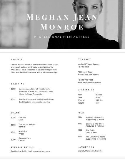 Greyscale Actress Photo Resume tarjetas de presentación Pinterest - actress sample resumes