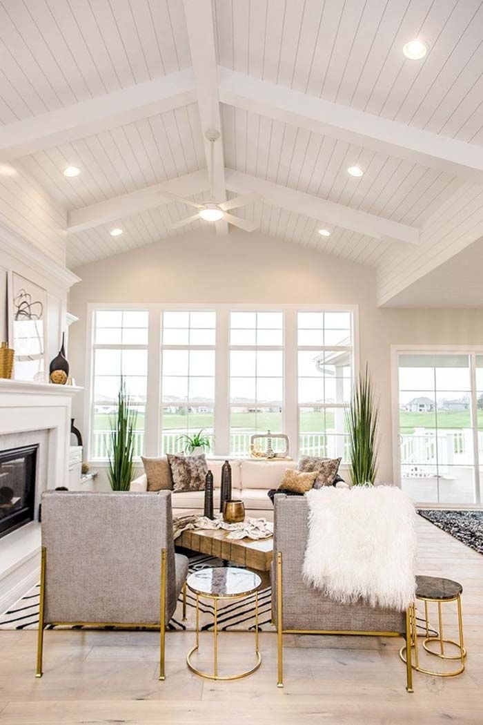 26 Beautiful Vaulted Ceiling Living Rooms In 2020 Vaulted Ceiling Living Room Cathedral Ceiling Living Room Beams Living Room
