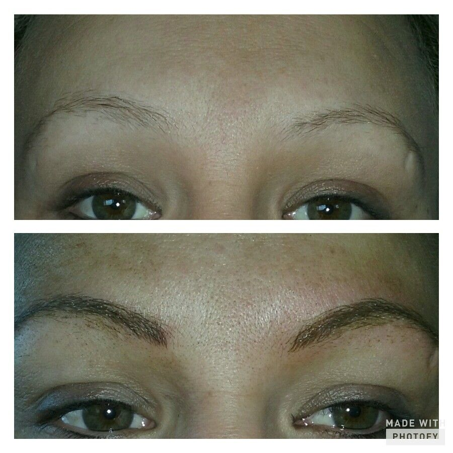 Before and after Microbladed eyebrows. Perfect brows
