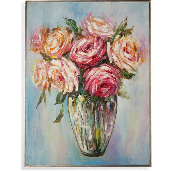 Ambrosi Vase Canvas Wall Art ($301) ❤ liked on Polyvore featuring home, home decor, orange home decor, canvas home decor, romantic home decor and pink home decor