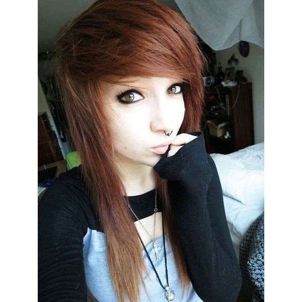 emo girl brown hair ❤ liked on Polyvore featuring beauty ucts ...