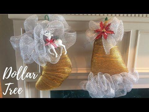 24cd713051b6e 2 Dollar Tree DIY Santa Hat   Stocking Deco Mesh Wreaths - YouTube ...