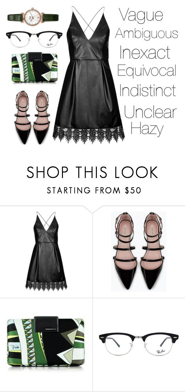 """Mystery..."" by iadorecats ❤ liked on Polyvore featuring Topshop, Zara, Emilio Pucci and Ray-Ban"