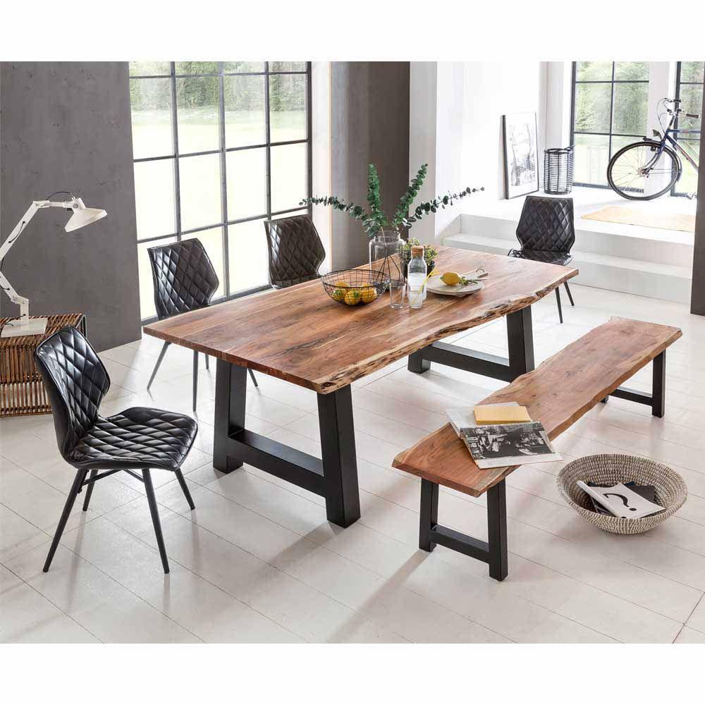 Esszimmer Tischgruppe mit Baumkantentisch und Bank Loft Design (6 ...