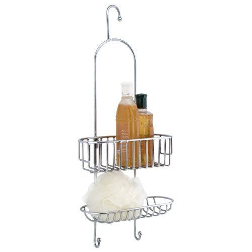 Brass Hanging Shower Caddy - Chrome by Nottingham Brass. $134.95. Keeping your soap, sponge, or shampoo close at hand, this traditional shower caddy is both useful and attractive. The low top basket makes this caddy perfect for larger bottles or accessories. Shown in Antique Copper finish. Made from solid brass. Dimensions: 23-1/2 H x 10 W x 4-1/2 D. Hook measures 1 W.