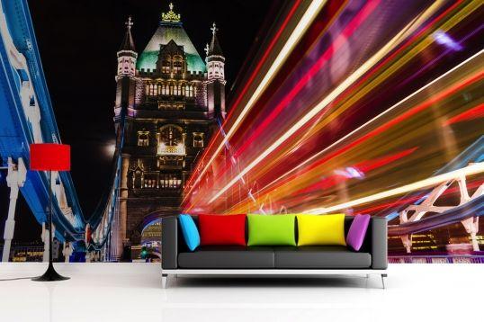 London Tower Bridge Lights Wallpaper Wall Mural | MuralsWallpaper.co.uk