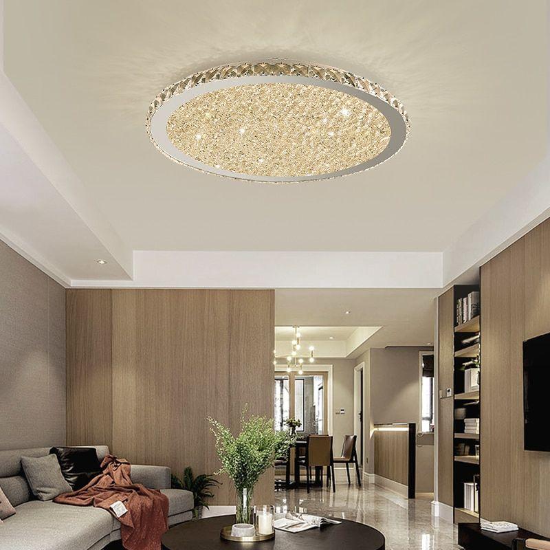 Modern Crystal Chandeliers Lights Home Lighting Ledlamp Living Room Bedroom Plafonnier Round Le Chandelier In Living Room Ceiling Lights Low Ceiling Chandelier