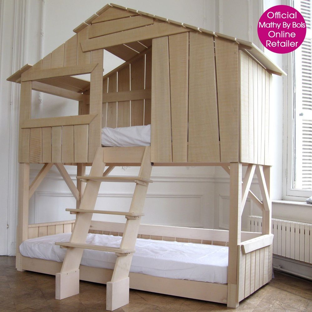 kids treehouse bedroom bunkbed in natural pine mdf cuckooland