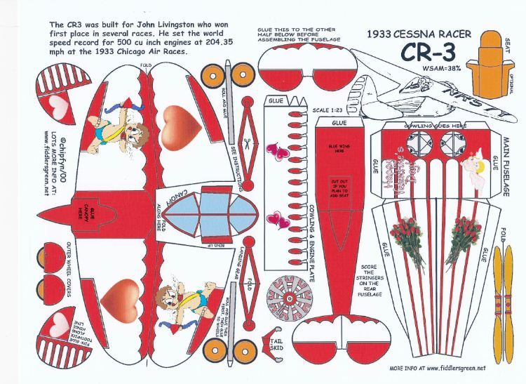 Celebrate Valentines Day With A Cessna Cr 3 Racer Template And Instruction