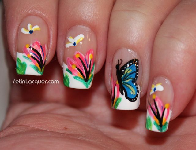 Easy Flower Nail Art For Spring - Flowers Butterfly | uñas mariposas ...