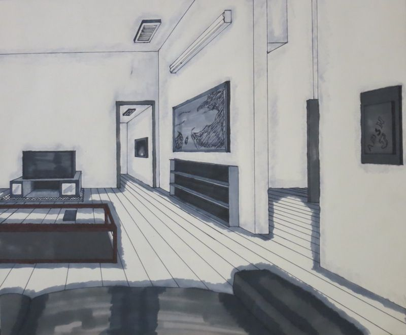 Living Room 2 Point Perspective created with marker, 2 point perspective drawing of a living room