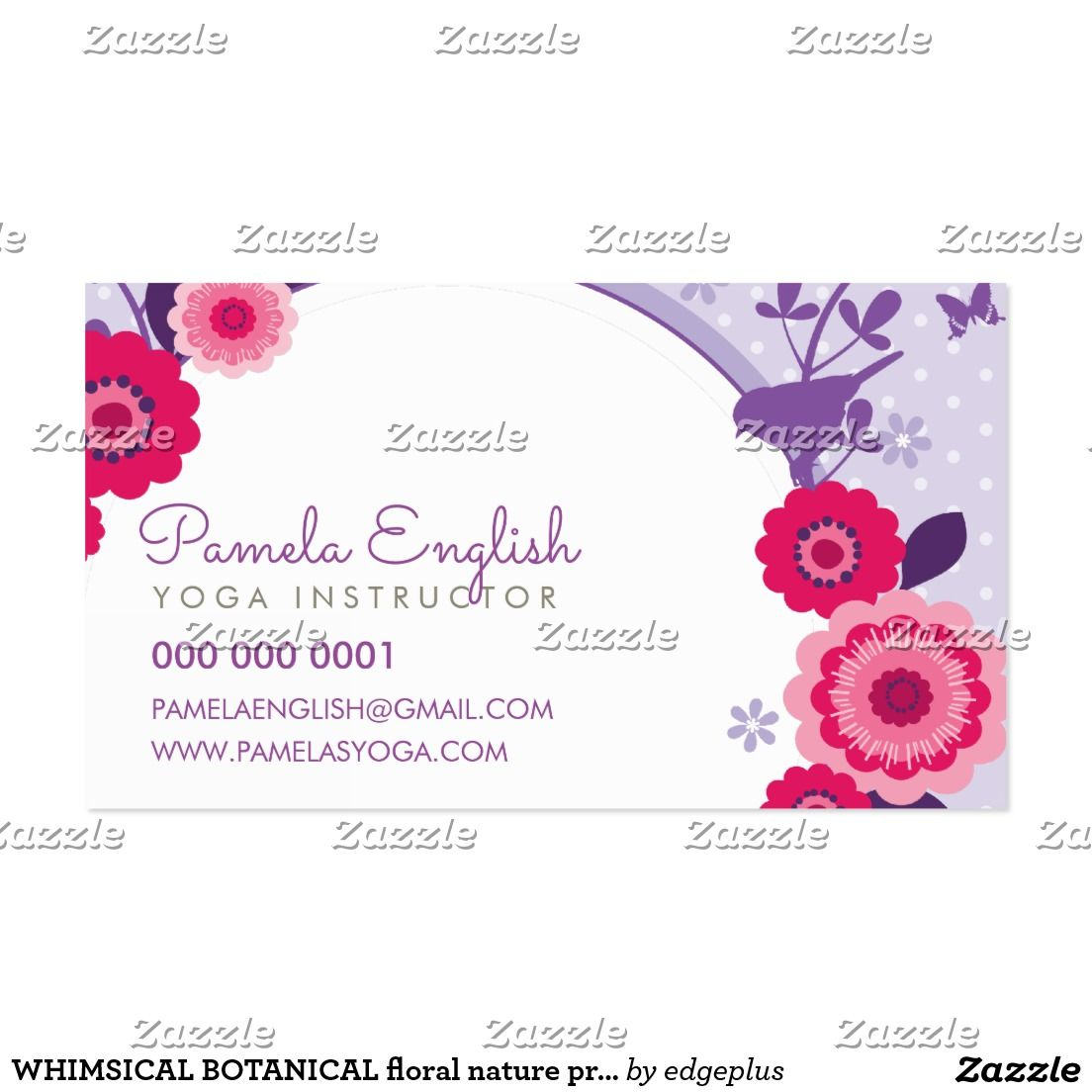 Whimsical botanical floral nature pretty purple business card whimsical botanical floral nature pretty purple business card setup as a template you change the details magicingreecefo Images
