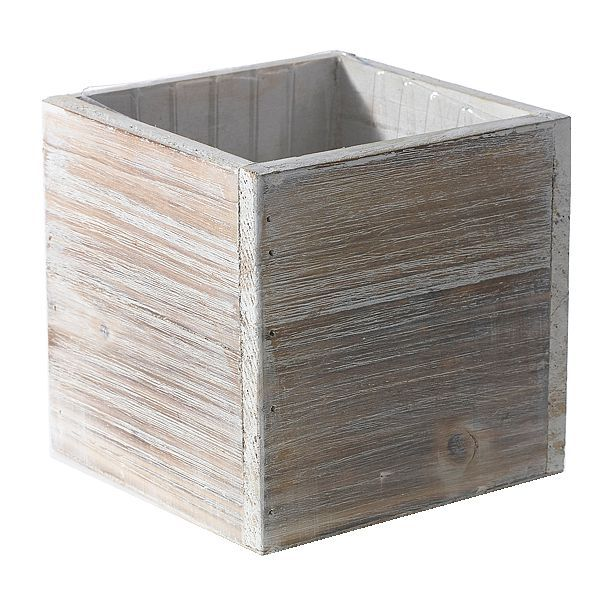 6 In X 6 In White Wash Cube W Hard Liner Wood Floral Containers Wood Planters Whitewash Wood Sale Decoration