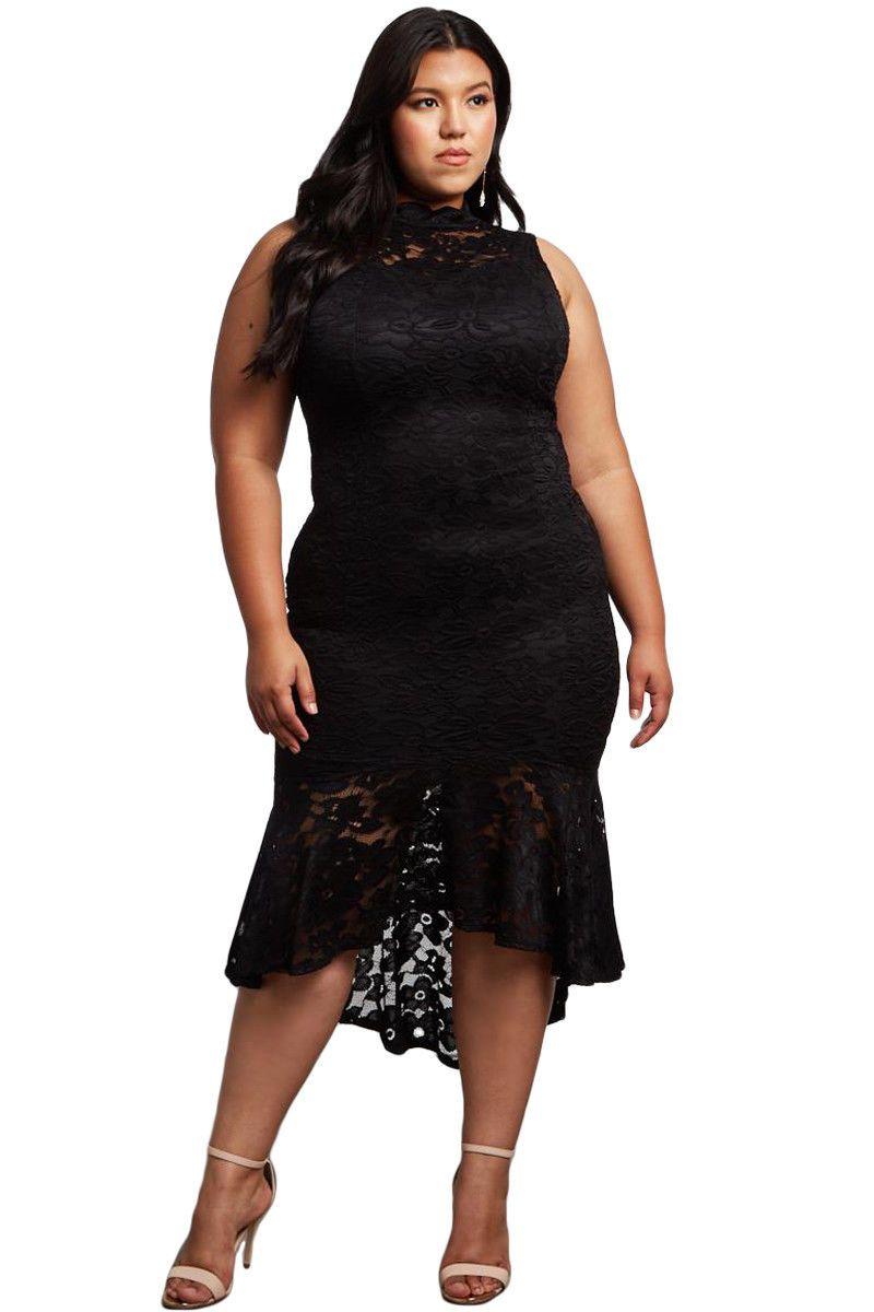 26 99 Women Lace High Low Turtleneck Plus Size Casual Party Cocktail Bodycon Dress Plus Size Party Dresses Plus Size Black Dresses Party Dresses Online [ 1200 x 800 Pixel ]