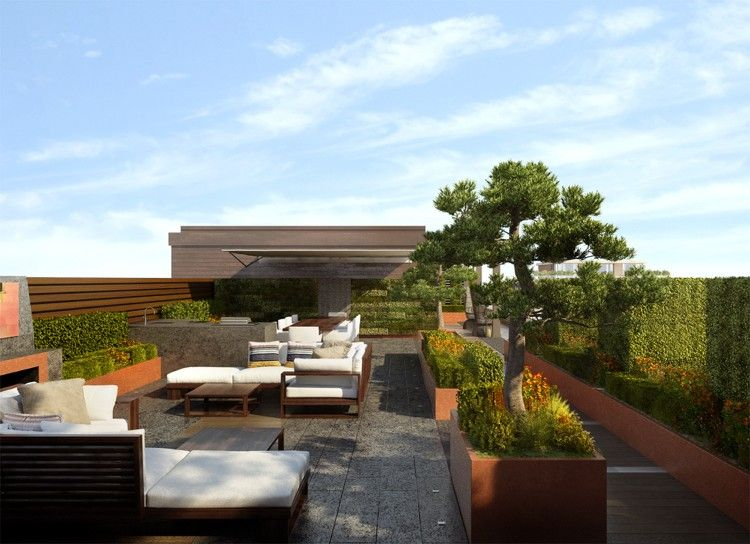 moderne dachterrasse mit üppiger, aber strukturierter bepflanzung, Garten und Bauten