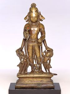 Vishnu with Lion and Boar Heads	  Kashmir; 8th - 9th century	 Copper alloy	 H. 13 1/2 in. (34.3 cm)