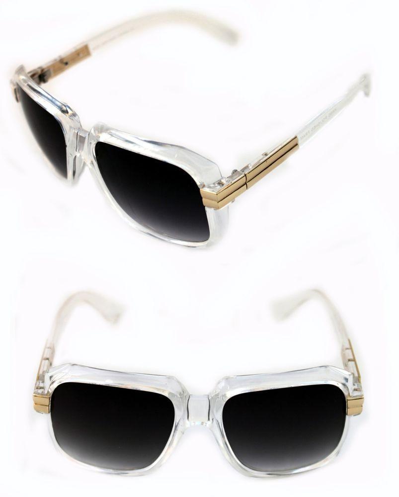 e6a47a976460 Men s Hip Hop 80 s Vintage 607 Black Lens Sunglasses RUN DMC CLEAR GOLD  Retro  Unbranded  HIPHOP