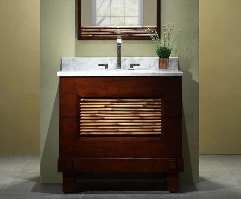 This Xylem Bambu Vanity And Matching Mirror Have So Much Zen And Feng Shui You Will Nev With Images Asian Bathroom Bathroom Vanities Without Tops Bathroom Furniture Vanity