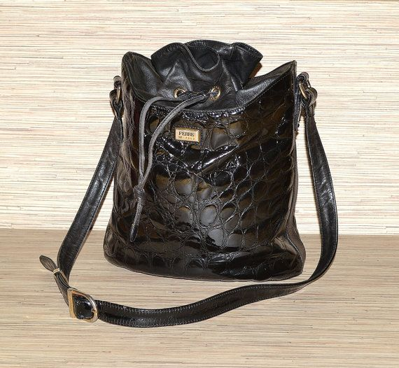 SALE OFF 20% Vintage Gianfranco Ferre Croc Print Black Patent Leather Bucket Shoulder Bag / Duffle Bag / Drawstring / Purse by mysunnystore. Explore more products on http://mysunnystore.etsy.com