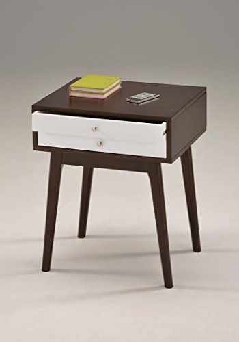 Espresso White Side End Table Nighstand With Two Drawer Https