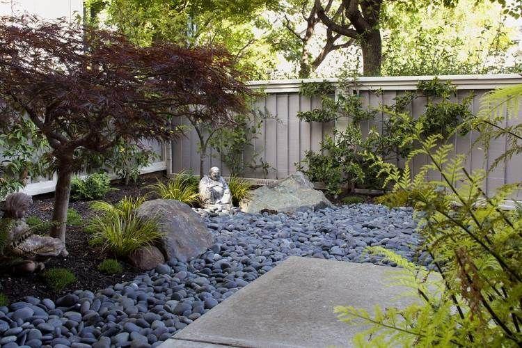 Attrayant Idee Jardin Japonais #9: Jardin Japonais Avec érable Crimson Queen Et Statuette De Buddha