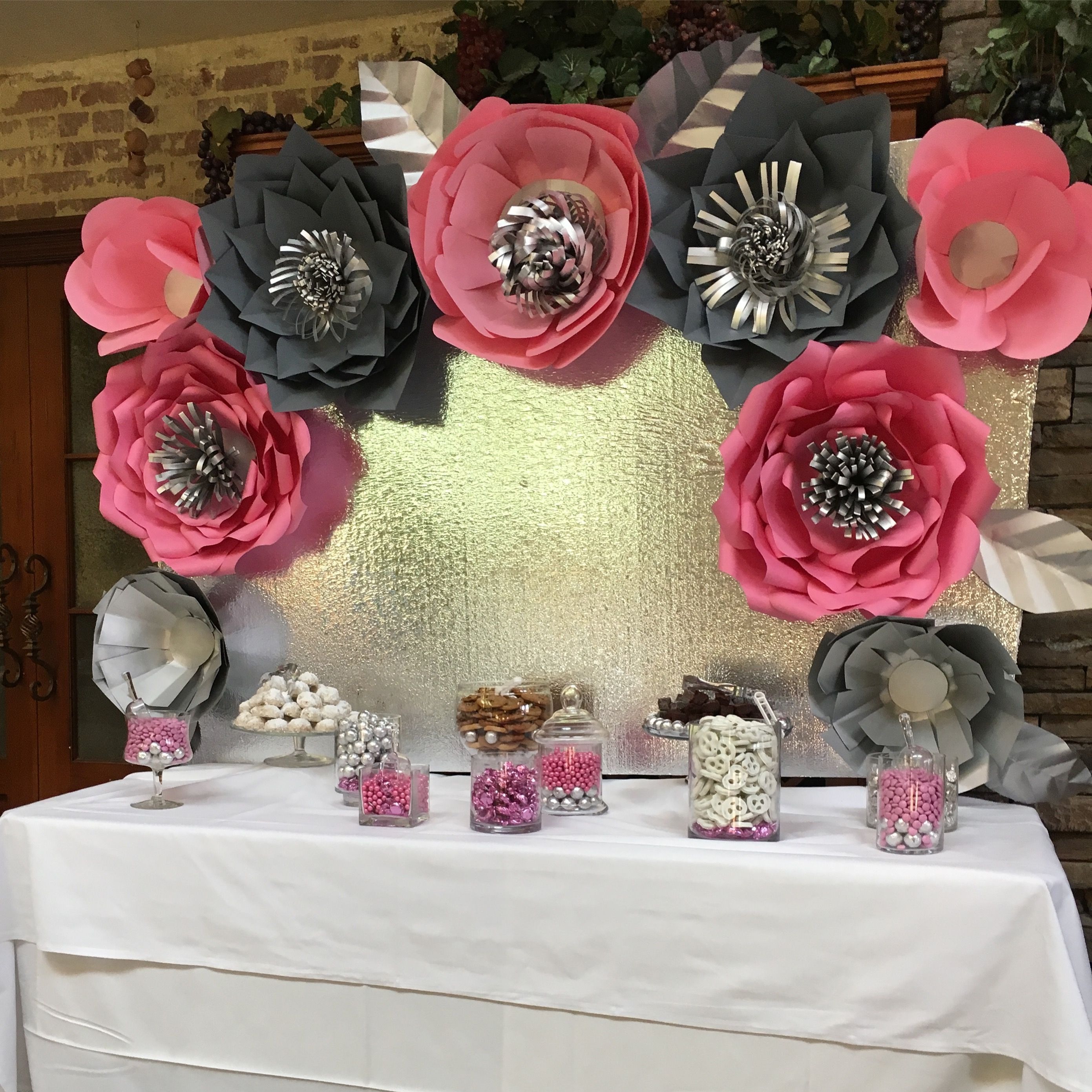 Wedding Paper Flowers Backdrop For Candy Dessert Table Pink Silver Wedding Flower Decorations Wedding Decorations Wedding Decor Elegant
