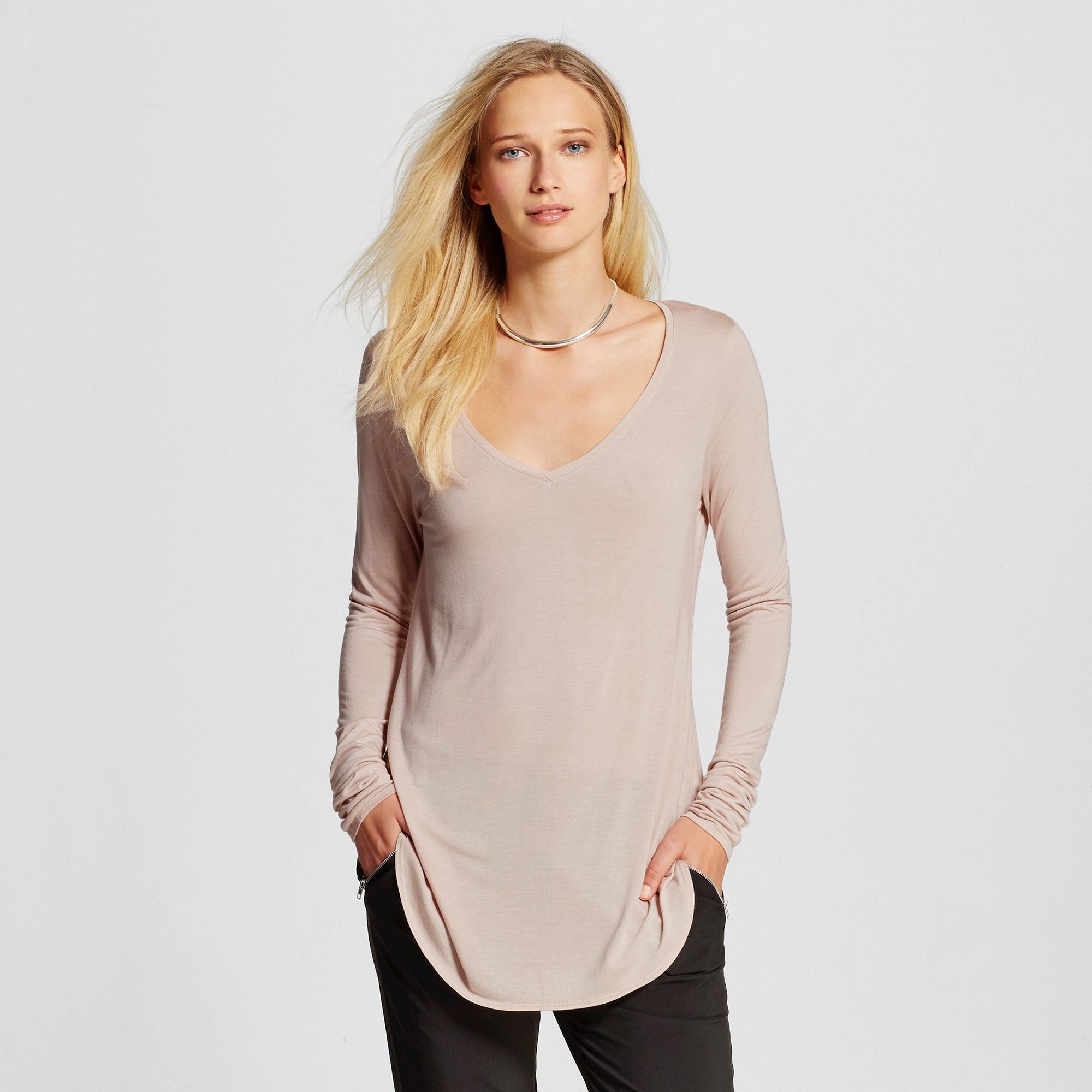 545274ec2 Women's Long Sleeve V-Neck T-Shirt Light Pink XL - Mossimo ...