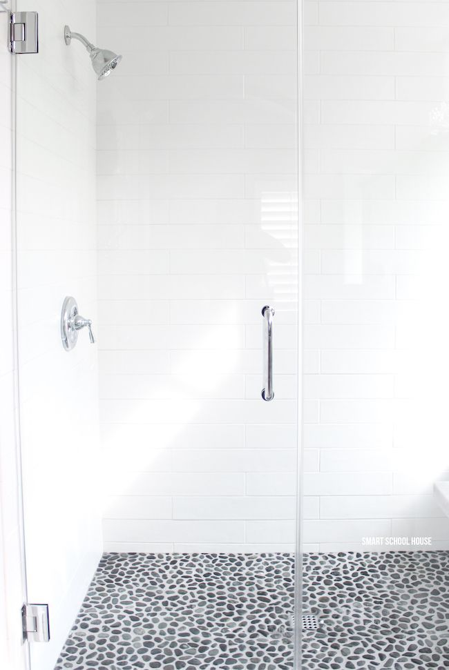 White On White Bathroom Ideas Part - 42: Gray And White Bathroom Ideas. Long White Subway Tiles. Large Glass Shower  Doors.