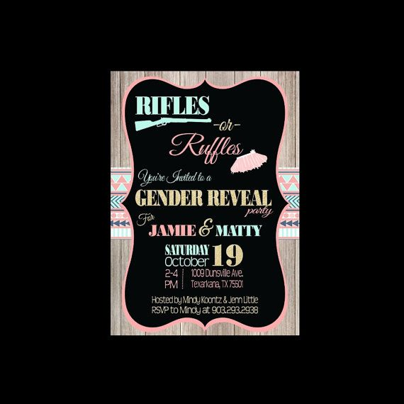 Rifle or Ruffle Gender Reveal Invite Check out this item in my Etsy shop https://www.etsy.com/listing/264708196/aztec-tribal-rifles-or-ruffles-gender