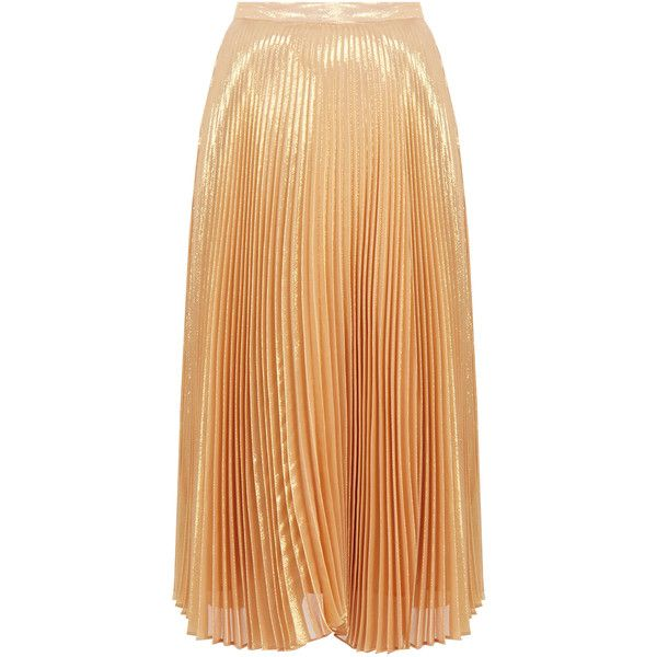 Nicole Miller Gold Metallic Pleated High-Waisted Silk-Blend Midi ...