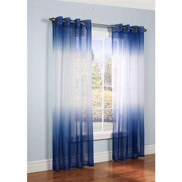 Ombre Semi Sheer Two Tone Curtain Panel 35 Liked On Polyvore
