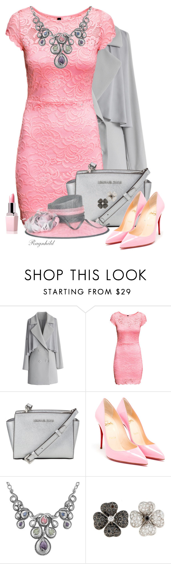 """""""Pink Dress"""" by ragnh-mjos ❤ liked on Polyvore featuring Chicwish, H&M, MICHAEL Michael Kors, Christian Louboutin, Carolyn Pollack/Relios, women's clothing, women, female, woman and misses"""