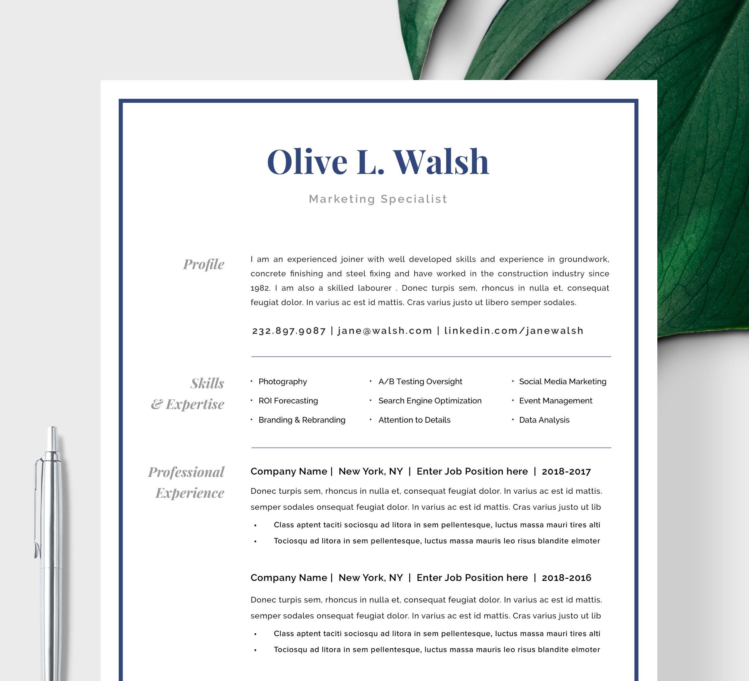 Modern Resume Template   CV Template, Cover Letter ...