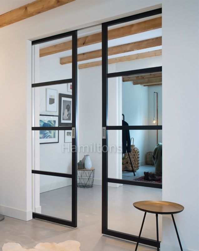 Slim Frame 50 Industrial 4l Single Double Pocket Doors Any Size Colour Glass Doors Interior Living Room Door Pocket Doors