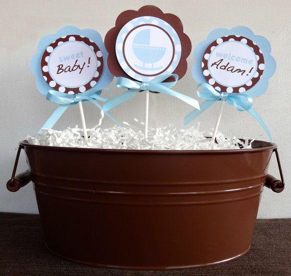 Blue And Brown Baby Shower Centerpiece Sticks Blue Brown Cradle