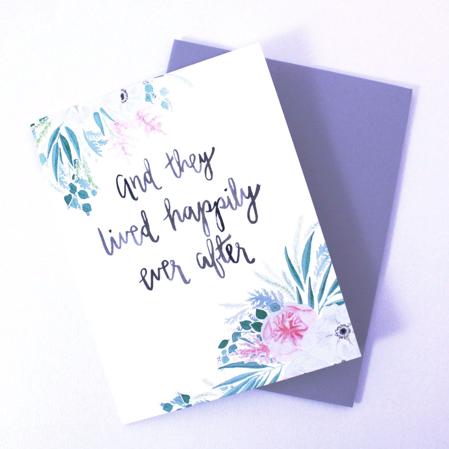 and they lived happily ever after wedding card beautiful hands