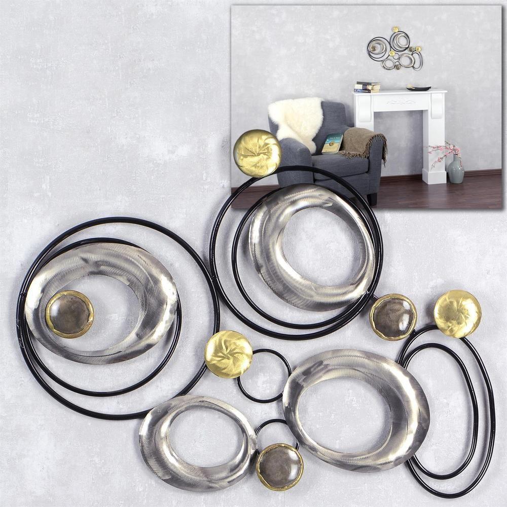 Exklusive Wanddeko Kreise Metall Bild Wandbild 63x46 Schwarz Silber Gold  Modern