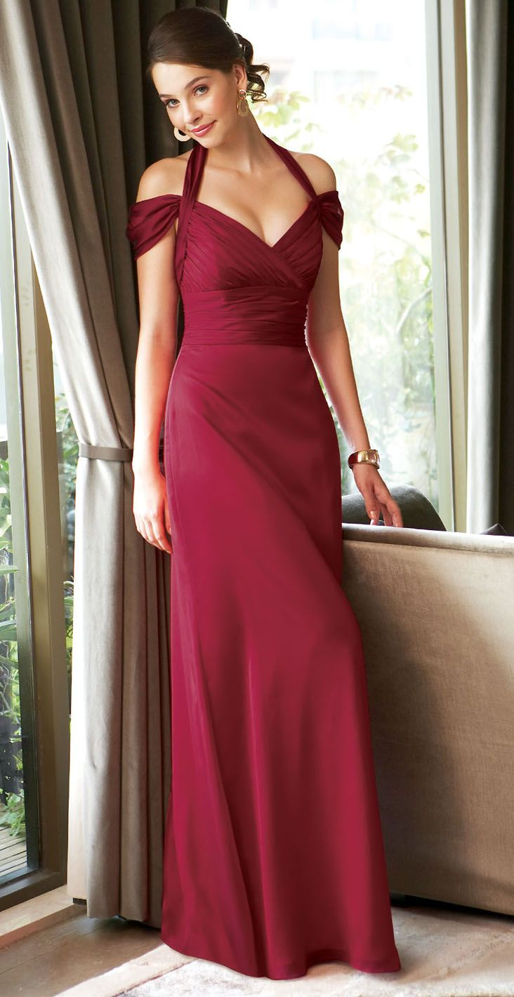 Bridesmaids dresses in deep red tiffany chiffon 92813 pinterest bridesmaids dresses in deep red tiffany chiffon ombrellifo Choice Image