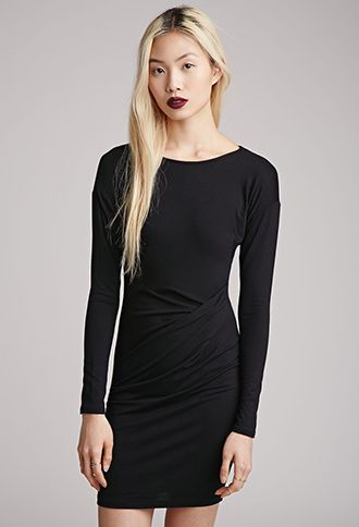 LBD Dress with Sleeves. #dress #Sleeves #dresseswithsleeves I Bodycon Faux Wrap Dress | Forever 21 - 2000052687